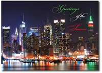 Waterfront Lights (25 cards & envelopes) Personalized New York City Boxed Holiday Cards