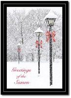 Snow Covered Lanterns (25 cards & envelopes) Personalized Boxed Holiday Cards