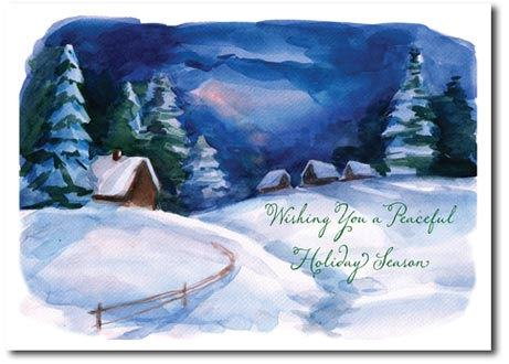 Peaceful Night (25 cards & envelopes) Personalized Boxed Holiday Cards