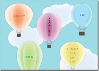 Birthday Hot Air Balloons (25 cards & envelopes) Personalized Business Boxed Birthday Cards
