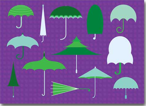 Get Well Umbrellas (25 cards & envelopes) Personalized Business Boxed Get Well Cards