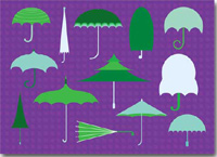 Get Well Umbrellas (25 cards & envelopes) - Boxed Get Well Cards