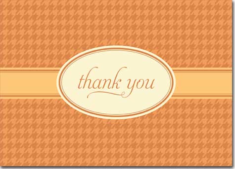 Thank you on Orange Plaid (25 cards & envelopes) Personalized Business Boxed Thank You Cards