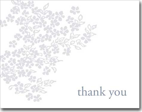 Thank You Gray Flowers (25 cards & envelopes) Personalized Business Boxed Thank You Cards