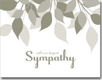 Sympathy Gray Leaves (25 cards & envelopes) Personalized Business Boxed Sympathy Cards