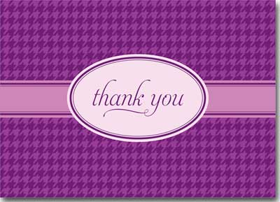 Thank You on Purple Plaid (25 cards & envelopes) - Boxed Thank You Cards