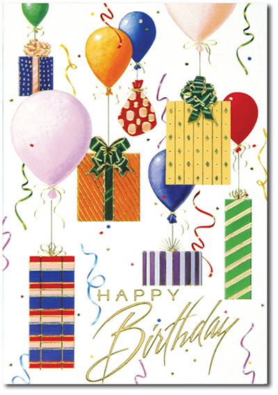Balloons & Presents (25 cards & envelopes) - Boxed Birthday Cards
