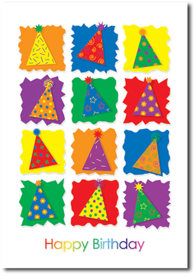 Vibrant Party Hats (25 cards & envelopes) - Boxed Birthday Cards
