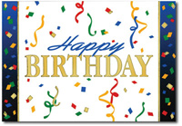 Birthday Streamers (25 cards & envelopes) Personalized Business Boxed Birthday Cards