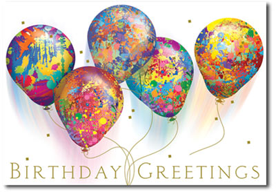 happy birthday paint spattered balloons  cards  envelopes, Birthday card