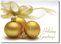Golden Ornaments with Ribbons (25 cards & envelopes) Personalized Boxed Holiday Cards