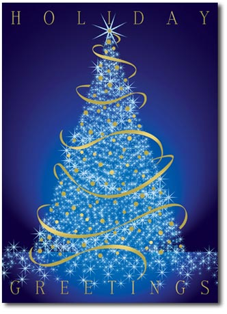 Glowing Prismatic Tree (25 cards & envelopes) Personalized Business Boxed Holiday Cards