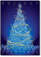 Glowing Prismatic Tree (25 cards & envelopes) - Boxed Holiday Cards