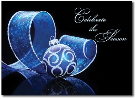 Blue & Silver Ornament with Blue Ribbon (25 cards & envelopes) - Boxed Holiday Cards