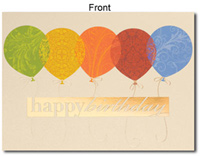Birthday Patterned Balloons (25 cards & envelopes) Personalized Business Boxed Birthday Cards