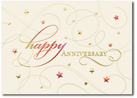 Happy Anniversary Colored Foils (25 cards & envelopes) Personalized Business Boxed Anniversary Cards
