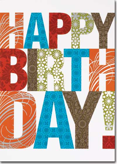 happy birthday patterned letters  cards  envelopes, Birthday card