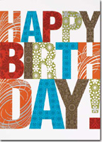 Happy Birthday Patterned Letters (25 cards & envelopes) - Boxed Birthday Cards