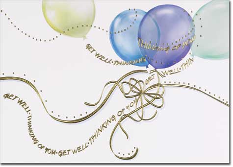 Get Well Balloons (25 cards & envelopes) - Boxed Get Well Cards