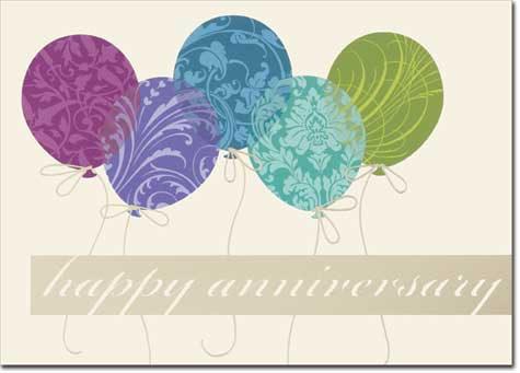 Anniversary Patterned Balloons (25 cards & envelopes) - Boxed Anniversary Cards