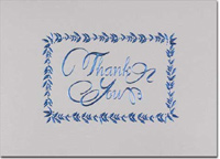 Thank You in Blue Foil (25 cards & envelopes) Personalized Business Boxed Thank You Cards
