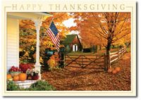 Patriotic Fall (25 cards & envelopes) Personalized Business Boxed Thanksgiving Cards