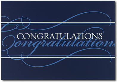 Congratulations in Silver and Blue (25 cards & envelopes) - Boxed Congratulations Cards