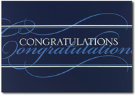 Congratulations in Silver and Blue (25 cards & envelopes) Personalized Business Boxed Congratulations Cards