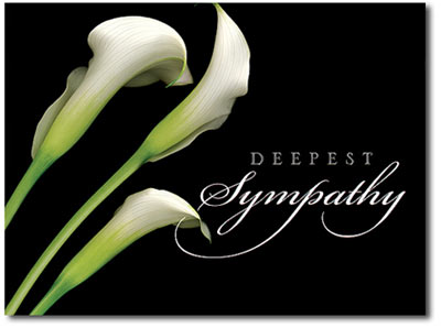Calla Lilies Deepest Sympathy (25 cards & envelopes) Personalized Business Boxed Sympathy Cards