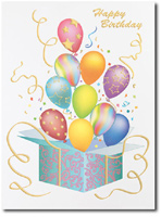 Happy Birthday Balloon Bursting Present (25 cards & envelopes) - Boxed Birthday Cards