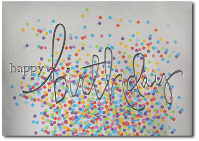 Birthday Silver with Colored Confetti (25 cards & envelopes) - Boxed Birthday Cards