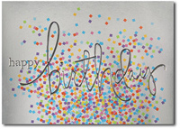Birthday Silver with Colored Confetti (25 cards & envelopes) Personalized Business Boxed Birthday Cards