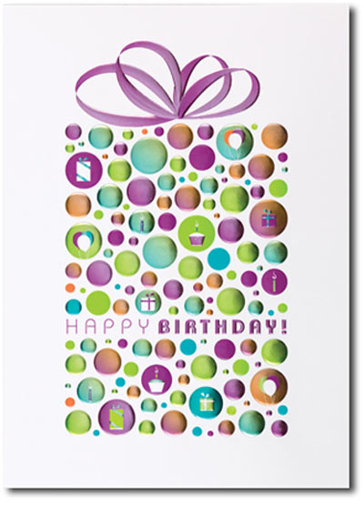 Happy Birthday Foil Dotted Package (25 cards & envelopes) Personalized Business Boxed Birthday Cards