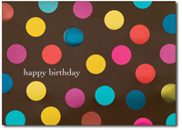 Happy Birthday Polka-Dots (25 cards & envelopes) Personalized Business Boxed Birthday Cards