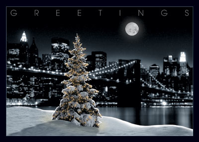 Snowy Tree with New York city Skyline (25 cards & envelopes) - Boxed Holiday Cards