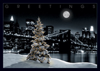 Snowy Tree with New York city Skyline (25 cards & envelopes) Personalized Business Boxed Holiday Cards