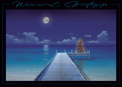Tropical Pier (25 cards & envelopes) Personalized Business Boxed Christmas Cards