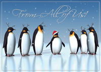 Antlered Penguins (25 cards & envelopes) Personalized Recycled Business Boxed Christmas Cards