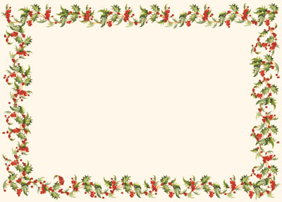 Horizontal Holly Border Photo Mount (25 cards & envelopes) - Boxed Christmas Cards