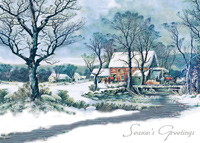 Currier & Ives Winter Mill (25 cards & envelopes) Personalized Recycled Business Boxed Christmas Cards