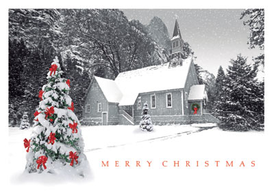 Quaint Country Church (25 cards & envelopes) Personalized Recycled Religious Boxed Christmas Cards