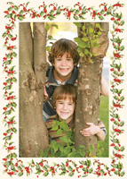 Vetical Holly Border Photo Mount (25 cards & envelopes) - Boxed Christmas Cards