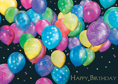 Balloon Bunch of Wishes (25 cards & envelopes) Personalized Business Boxed Birthday Cards