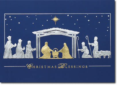 The Holy Manger (25 cards & envelopes) Personalized Religious Boxed Christmas Cards