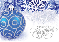 Blue and Silver Ornament (25 cards & envelopes) - Boxed Christmas Cards