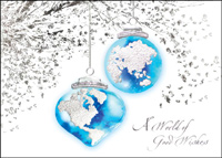 Worldly Decorations (25 cards & envelopes) Custom Imprint Business Boxed Christmas Cards