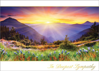 Sympathy Mountain Sunset (25 cards & envelopes) Custom Imprint Boxed Sympathy Cards