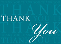 Thank You on Teal (25 cards & envelopes) Custom Imprint Boxed Thank You Cards