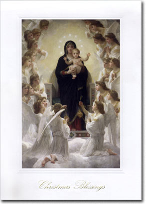 The Virgin with Angels (25 cards & envelopes) Personalized Religious Boxed Christmas Cards
