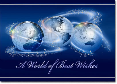World of Best Wishes (25 cards & envelopes) Personalized Business Boxed Holiday Cards